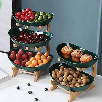 3/2/1 Tiers Fruit Plate with Wood Holder Snacks Candy Serving Plate Bowl Kitchen Organizer Rack Party Food Serving Display Tray
