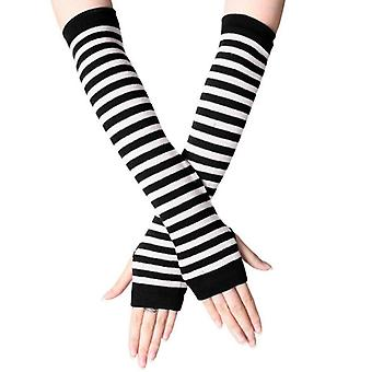 (White & Black) Womens Stretchy Elbow Fingerless Long Gloves Striped Arm Wrist Warmer Mittens
