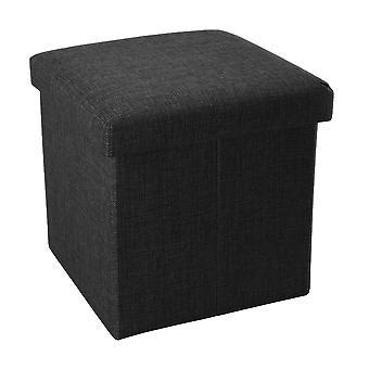 Складной табурет 38x38x38 см в DIAMANT BLACK - сиденье кубик с местом для хранения и крышкой из ткани в льняном виде