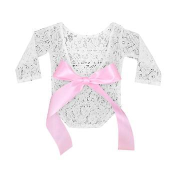 Newborn Baby Lace Photo Clothing, V-back Romper Bow Hairband Set
