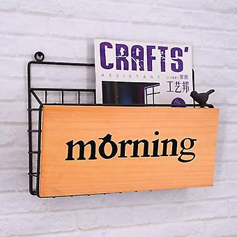 Nordic Letter Wall Storage Rack Hanging Flower Stand Wooden Sundries Shelf Home Newspaper