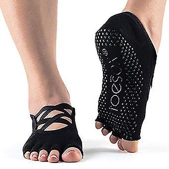 Toesox Half Toe Elle Criss Cross Yoga Pilates Grip Dance Socks - Black