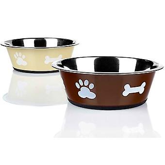 Classic For Pets Mangeoire en acier inoxydable Paws Classic Beige (Chiens , Gamelles)