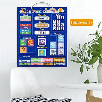 Kids Magnetic Calendar Time Month Date Day Season Weather Learning Chart Board