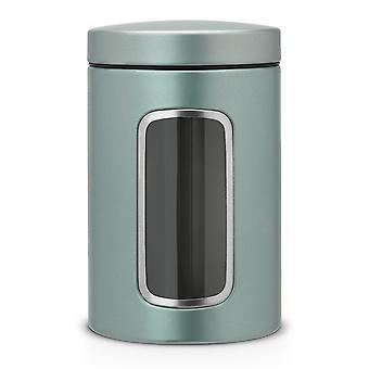 Storage tanks round canister jar with window and accessories  1.4 L - metallic mint