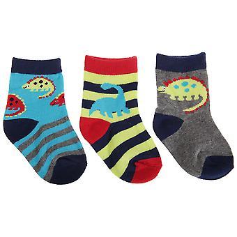 Baby Boys Dinosaur Design Cotton Rich Socks (Pack Of 3)