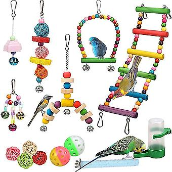 Bird toys 14 pcs bird toys set swing chewing hanging hammock parrot cage bell perch toys with ladder|bird toys