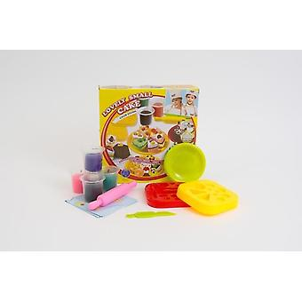 Children's Colour Dough Cake Set With 4 Pots Of Dough And Moulds