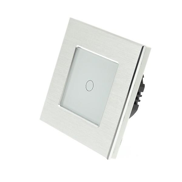 I LumoS Silver Brushed Aluminium 1 Gang 2 Way Touch LED Light Switch White Insert