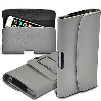 (Grey) Horizontal PU Leather Belt Holster Pouch Cover Case For Elephone P8000 [ XL ]