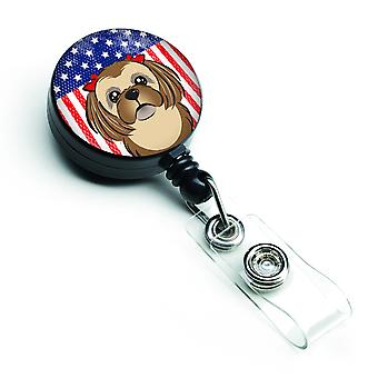 American Flag and Chocolate Brown Shih Tzu Retractable Badge Reel
