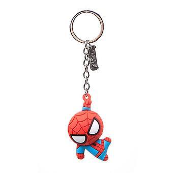 Spider-Man tegn 3D anheng gummi nøkkelring nøkkelring - rød (KE020304SPN)
