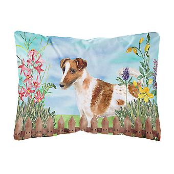 Smooth Fox Terrier Spring Canvas Fabric Decorative Pillow