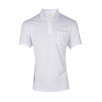 Classic fit knitted pique polo – white