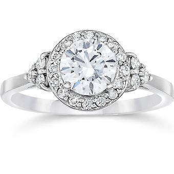 1 Carat Halo Vintage Diamond Engagement Ring 14K White Gold