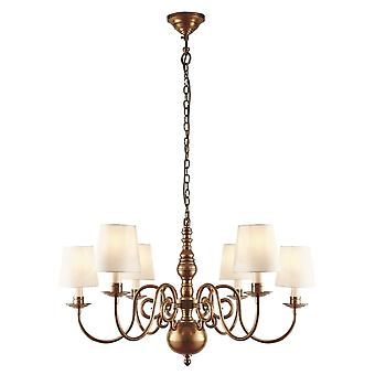 Interiors 1900 Chamberlain Solid Brass 6 Arm Chandelier