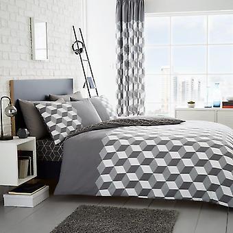 Cubix Cubes Duvet Quilt Cover Polycotton Printed Bedding Set Bed Linen