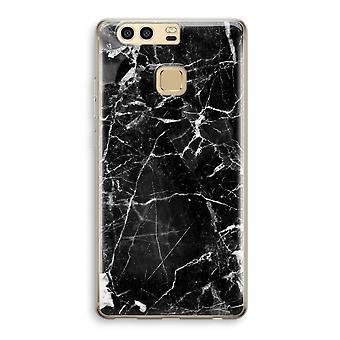 Huawei P9 gennemsigtig sag (Soft) - sort marmor 2