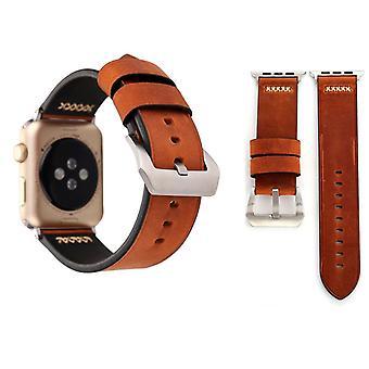 Bracelet en cuir véritable pour la série Apple Watch 1 / 2 / 3 café de 42 mm