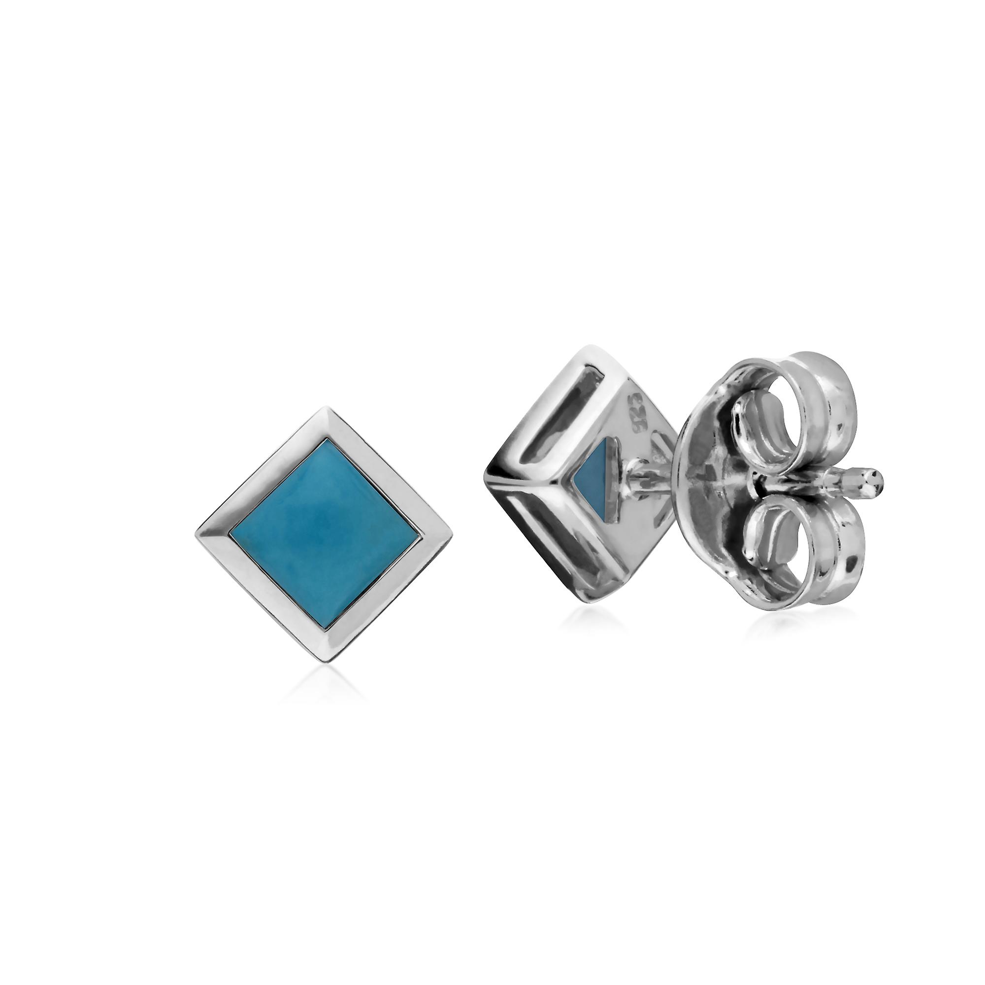 Gemondo Sterling Silver Simple Turquoise Bezel Square Stud Earrings