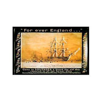 Aina Englannissa Hms Victory Southsea kohokuvioitu teräksen merkki