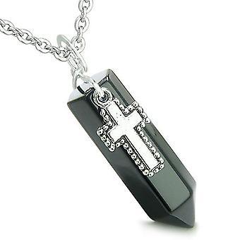 Amulett Crystal Point Heilig-Kreuz Charme schwarzer Onyx Edelstein spirituelle Positive Anhänger Halskette