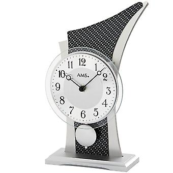 Table clock table clock quartz with pendulum wooden case mineral glass
