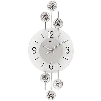 Wall clock quartz analog silver modern metal and glass