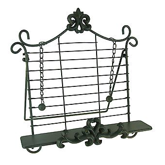 Rustic Metal Fleur De Lis Cookbook Holder Easel Stand
