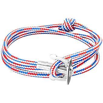 צמיד העוגן והצוות כסף וחבלים-אדום/לבן/כחול