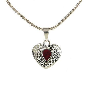 Cavendish Français gravé pendentif coeur jaspe rouge et argent avec chaîne en argent 18-20