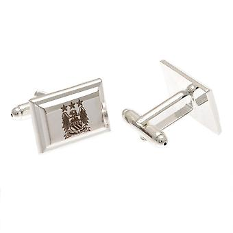 Manchester City FC Silver Plated Rectangular Cufflinks