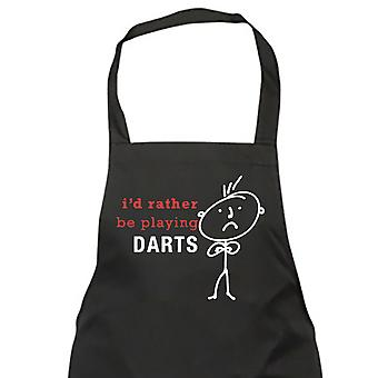 Mens I'd Rather Be Playing Darts Black Apron