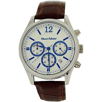 Gianni Sabatini Gents Chronograph Date Dial Brown Genuine Leather Strap Watch