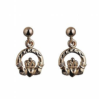 9ct Gold 9mm diamond cut Claddagh Dropper Earrings