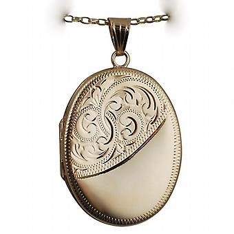 9ct Gold 35x26mm half engraved flat oval Locket with a belcher Chain 24 inches