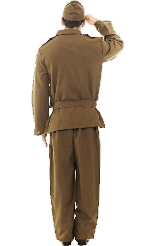 Orion Costumes Mens Khaki Brown Home Guard WW2 1940s Army Fancy Dress Costume