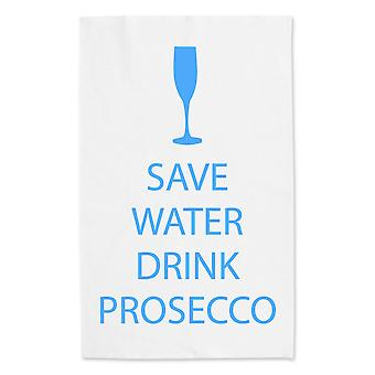 Save Water Drink Prosecco White Tea Towel Blue Text