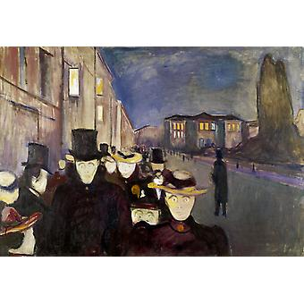 Ilta Karl Johan Sireet, Edvard Munch, 60x40cm