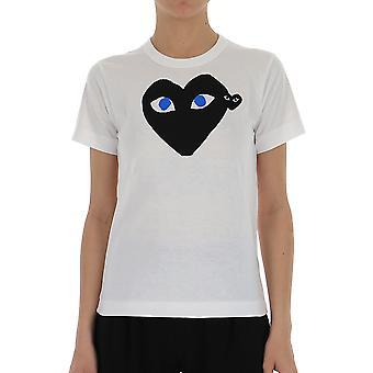 Comme Des Garçons Play P1t0871 Women's White/black Cotton T-shirt