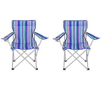 2 cadeiras de praia dobrável Yello para Camping, pesca ou praia - listras azuis