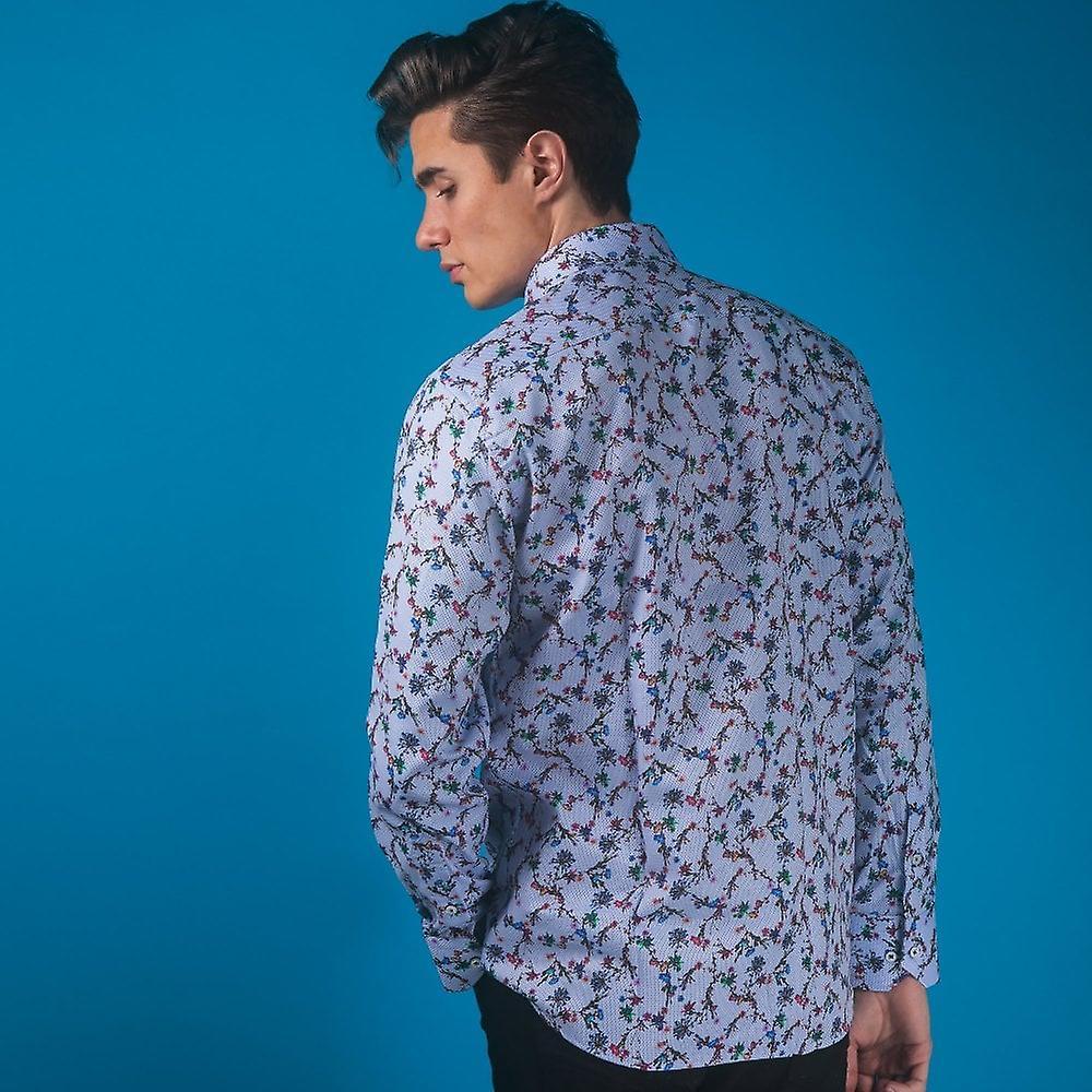 CLAUDIO LUGLI Oriental Floral Print Shirt On Woven Cotton