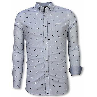 E Shirts - Slim Fit - Fishbone Pattern - Light Blue