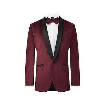 Dobell Mens Burgundy Velvet 2 Piece Tuxedo Regular Fit Contrast Shawl Lapel