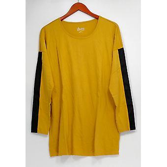 Denim et Co. Femmes Top Drop Shoulder Jersey w/ Faux Cuir Jaune A271394