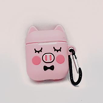 Cartoon capa de silicone para Apple Airpods-cute Piggy sono-com fecho da lagosta