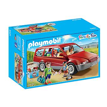 Playmobil 9421 Family Fun Family Car With Trailer Hitch Playset