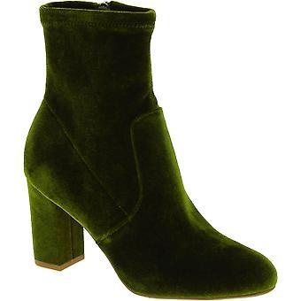 Steve Madden kvinder ' s mode blok hæle ankel støvler side lynlås i grøn fløjl