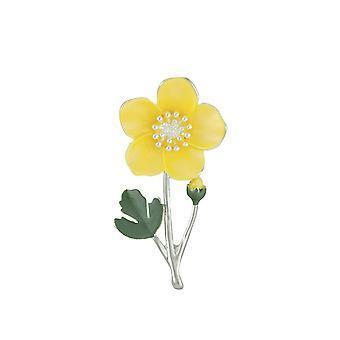 Eternal Collection Buttercup Yellow Enamel Silver Tone Flower Brooch