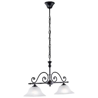 Eglo - Murcia Black Traditional 2 Light Ceiling Pendant with Alabaster Glass EG91004